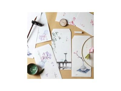 中国风信封信纸套装 人生若寄 明信片贺卡收纳袋复古牛皮纸信封